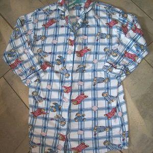 Ivy Crew Blue Plaid Teddy Bears Sleep Night Shirt